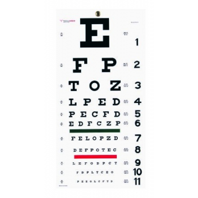 Snellen Pocket Eye Chart Wall 22 x 11