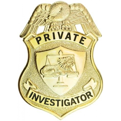 Private Investigator Shield Badge Gold