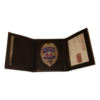 Leather Tri Fold Badge Wallet