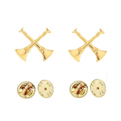 Collar Pins Bugles Cut Out 2 Bugles Crossed Gold Captain
