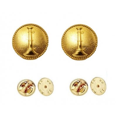 Collar Pins Bugles Disc 1 Bugle Gold Lieutenant