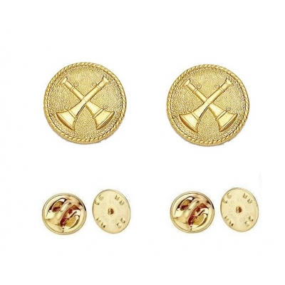 Collar Pins Bugles Disc 2 Bugles Crossed Gold Captain