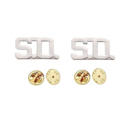 Collar Pins Insignia Letters 1/2'' S.O. SO Sheriff Office