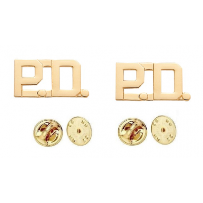 Collar Pins Insignia Letters 1/2'' P.D. PD Police Department