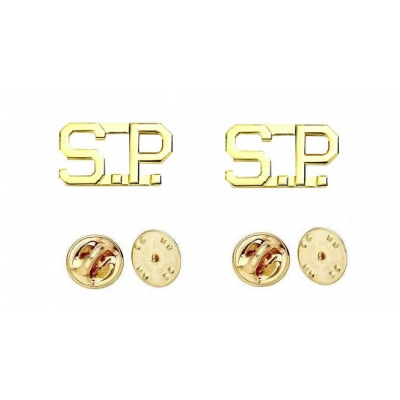 Collar Pins Insignia Letters 1/2'' S.P. SP Special State Police