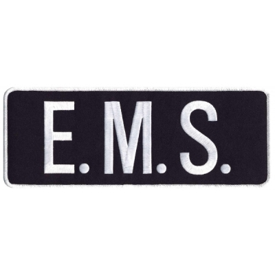 EMS Tactical Back Patch 4 X 11 White on Black