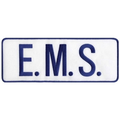 EMS Tactical Back Patch 4 X 11 Blue on White