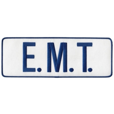 EMT Tactical Back Patch 4 X 11 Blue on White
