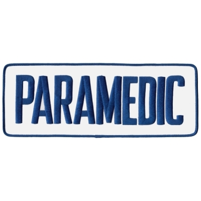 Paramedic Tactical Back Patch 4 X 11 Blue on White