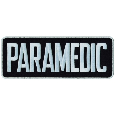 Paramedic Tactical Back Patch 4 X 11 White on Navy