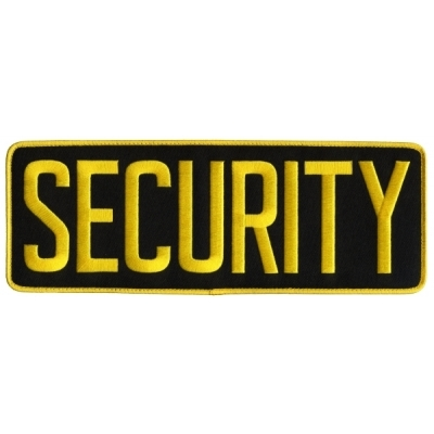 Security Back Patch Large 4 x 11 Gold on Black
