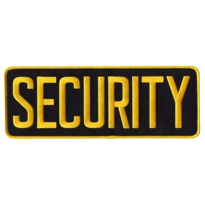 Security Back Patch Large 4 x 11 Gold on Navy