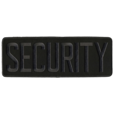 Security Back Patch Large 4 x 11 Gray on Black