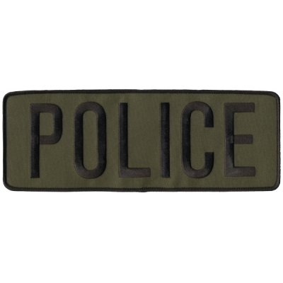 Police PD Back Patch Large 4 x 11 Black on Olive Drab