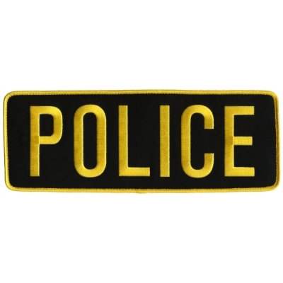 Police PD Back Patch Large 4 x 11 Gold on Black