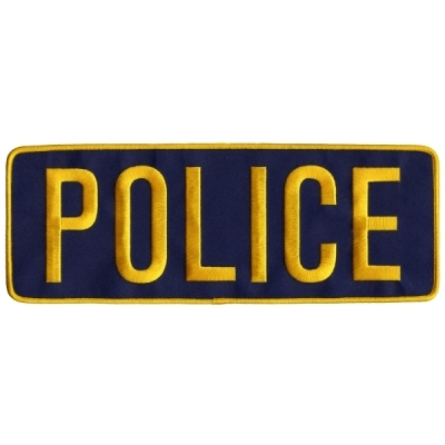 Police PD Back Patch Large 4 x 11 Gold on Navy