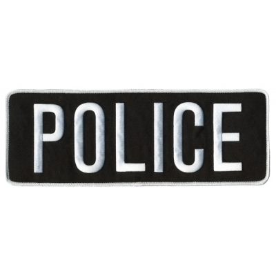 Police PD Back Patch Large 4 x 11 White on Black