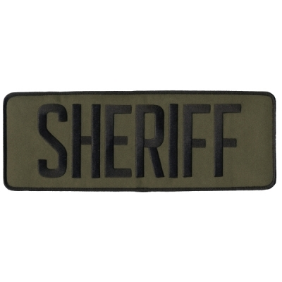 Sheriff SO Back Patch Large 4 x 11 Black on Olive Drab