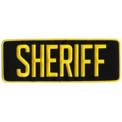 Sheriff SO Back Patch Large 4 x 11 Gold on Black