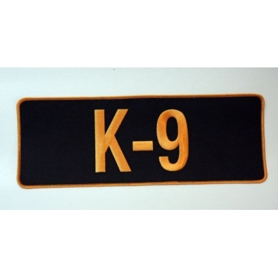 K-9 Dog Back Patch Large 4 x 11 Gold on Black