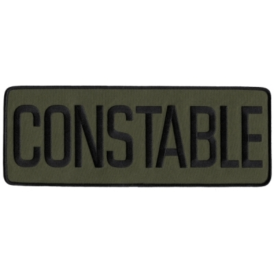 Constable Back Patch Large 4 x 11 Black on Olive Drab