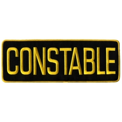 Constable Back Patch Large 4 x 11 Gold on Black