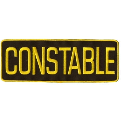 Constable Back Patch Large 4 x 11 Gold on Brown