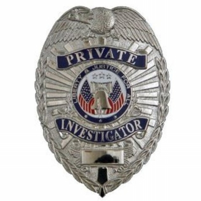Private Investigator Shield Breast Badge Nickel Silver