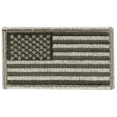 American Flag Embroidered Patch Silver Regular