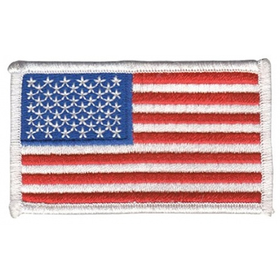 American Flag Embroidered Patch White