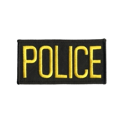 Police Front Chest Patch 2 x 4.25 Gold on Black