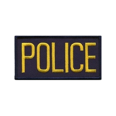 Police Front Chest Patch 2 x 4.25 Gold on Navy