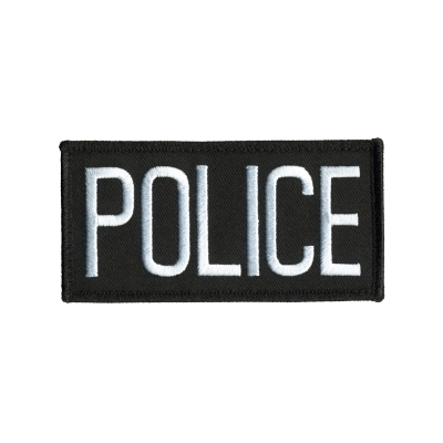 Police Front Chest Patch 2 x 4.25 White on Black
