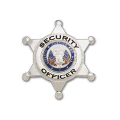 Security Officer 6-Point Star Badge Liberty & Justice Seal Silver