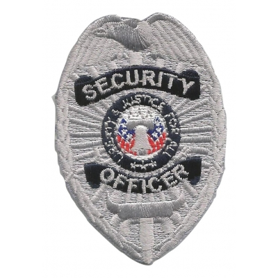 Oval Patch Badge - Security Officer Silver