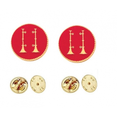 Collar Pins Bugles Disc 2 Bugles Side by Side Gold Captain Red