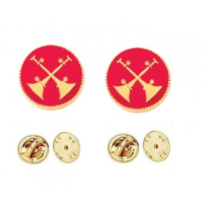 Collar Pins Bugles Disc 2 Bugles Crossed Gold Captain Red