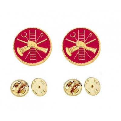 Fire Scramble Disc Collar Pin Insignia Gold Red Enamel