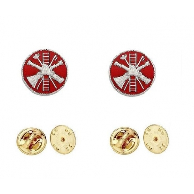 Fire Scramble Disc Collar Pin Insignia Silver Red Enamel