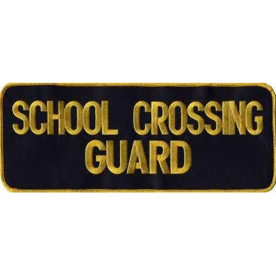 School Crossing Guard Back Patch Large 4 x 11 Gold on Navy
