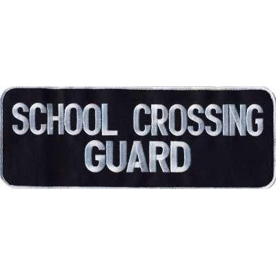 School Crossing Guard Back Patch Large 4 x 11 White on Navy