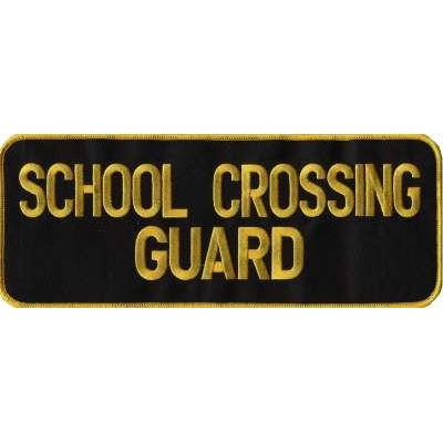 School Crossing Guard Back Patch Large 4 x 11 Gold on Black