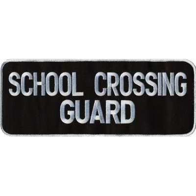 School Crossing Guard Back Patch Large 4 x 11 White on Black