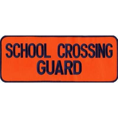 School Crossing Guard Back Patch Large 4 x 11 Navy on Orange