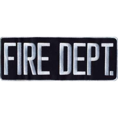 Fire Dept Back Patch Large 4 x 11 White on Midnight