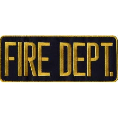 Fire Dept Back Patch Large 4 x 11 Gold on Navy