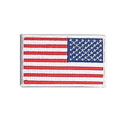 American Flag Embroidered Patch White Reverse