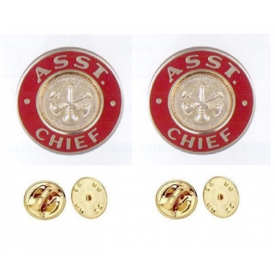 Collar Pins Bugles Disc 3 Bugles Gold Asst Chief Red Gold Insert