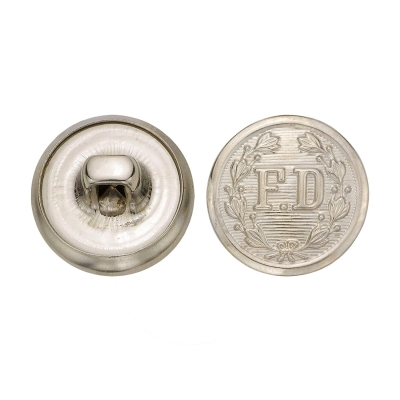 FD Firefighter Metal Button 5/8 Inch Silver Nickel