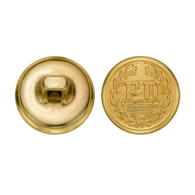 FD Firefighter Metal Button 5/8 Inch Gold